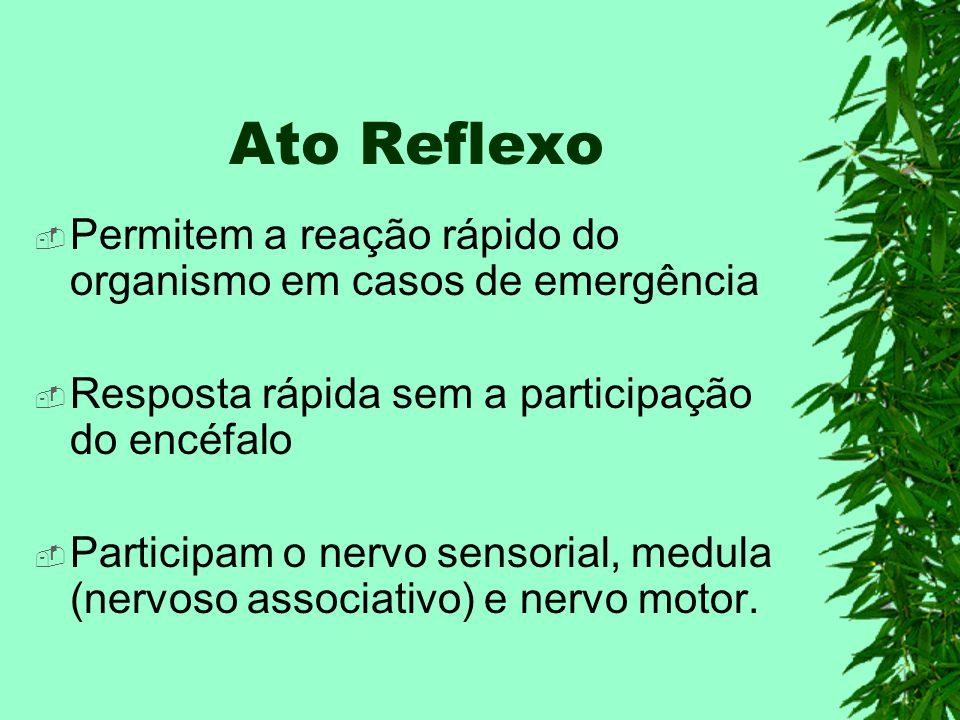Ato Reflexo Permitem a reação rápido do organismo em casos de emergência Resposta rápida sem a participação do encéfalo Participam o nervo sensorial, medula (nervoso associativo) e nervo motor.