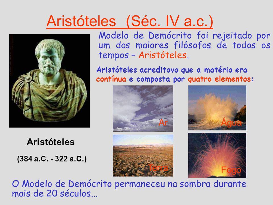 Aristóteles (Séc. IV a.c.) Modelo de Demócrito foi rejeitado por um dos maiores filósofos de todos os tempos – Aristóteles. Aristóteles acreditava que