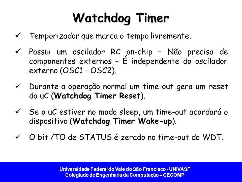 Universidade Federal do Vale do São Francisco - UNIVASF Colegiado de Engenharia da Computação – CECOMP Watchdog Timer Temporizador que marca o tempo livremente.