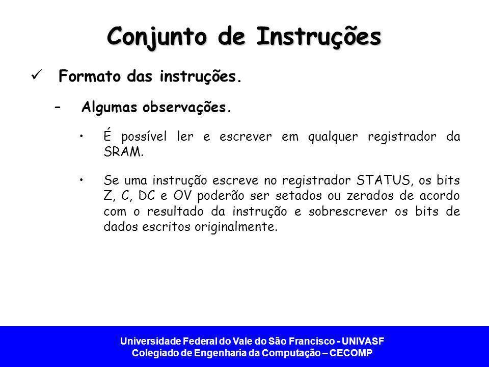 Universidade Federal do Vale do São Francisco - UNIVASF Colegiado de Engenharia da Computação – CECOMP Conjunto de Instruções Formato das instruções.