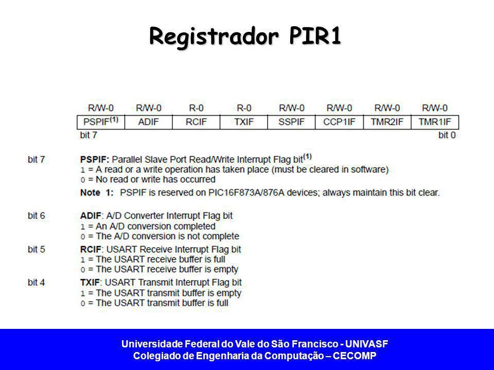 Universidade Federal do Vale do São Francisco - UNIVASF Colegiado de Engenharia da Computação – CECOMP Registrador PIR1