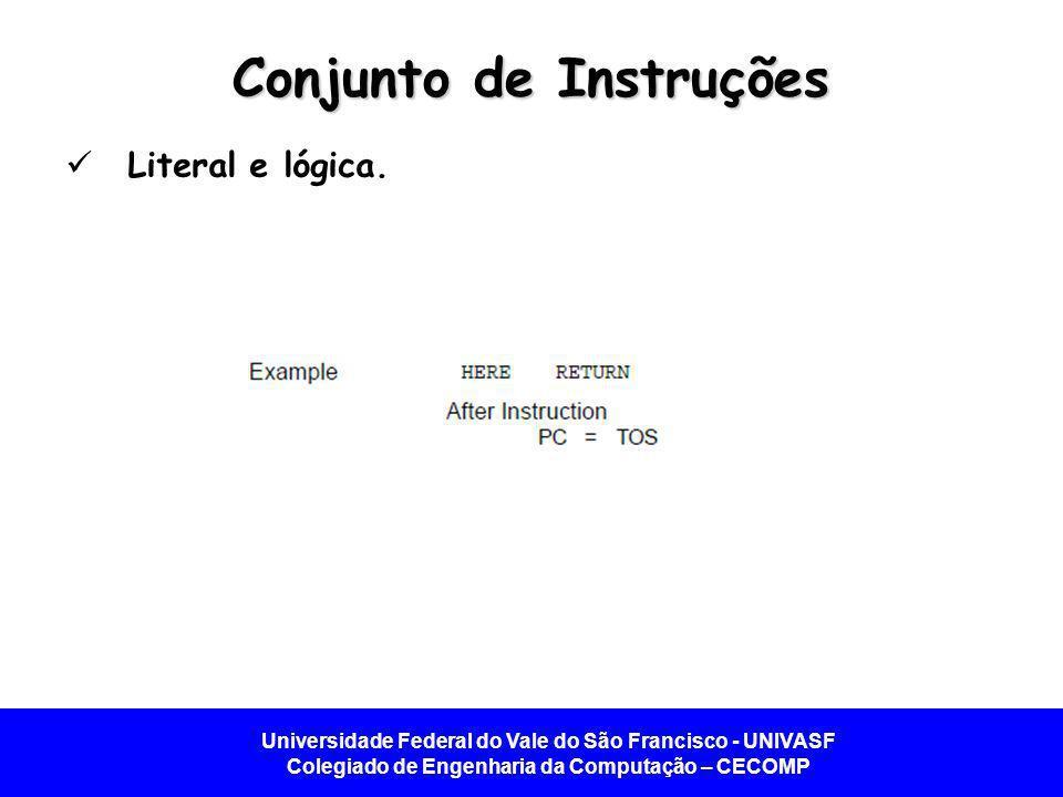 Universidade Federal do Vale do São Francisco - UNIVASF Colegiado de Engenharia da Computação – CECOMP Conjunto de Instruções Literal e lógica.