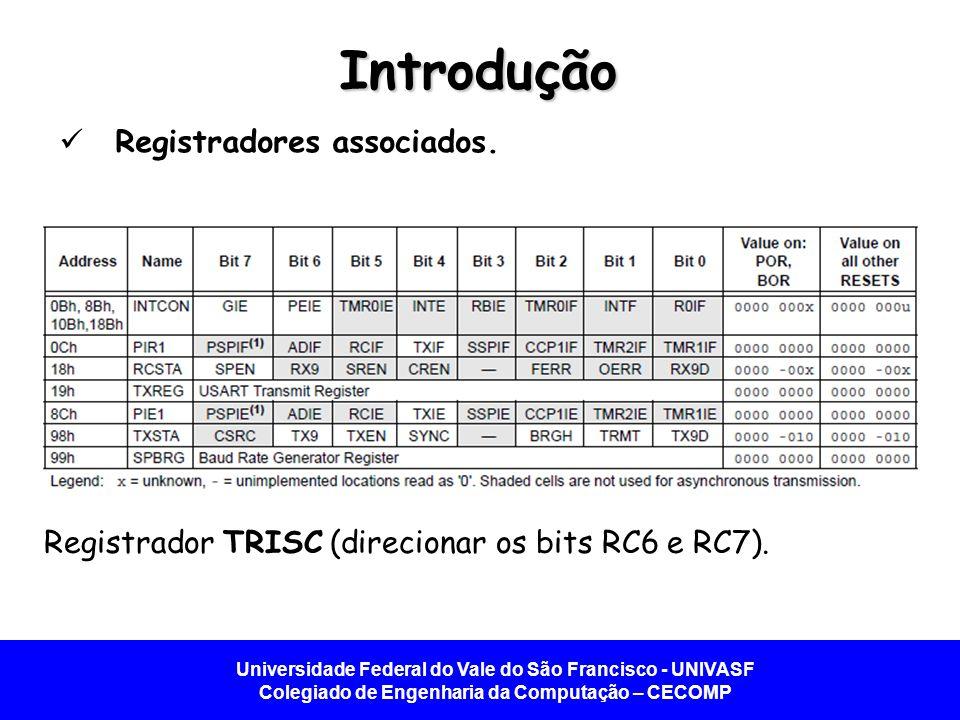 Universidade Federal do Vale do São Francisco - UNIVASF Colegiado de Engenharia da Computação – CECOMP Introdução Registradores associados. Registrado