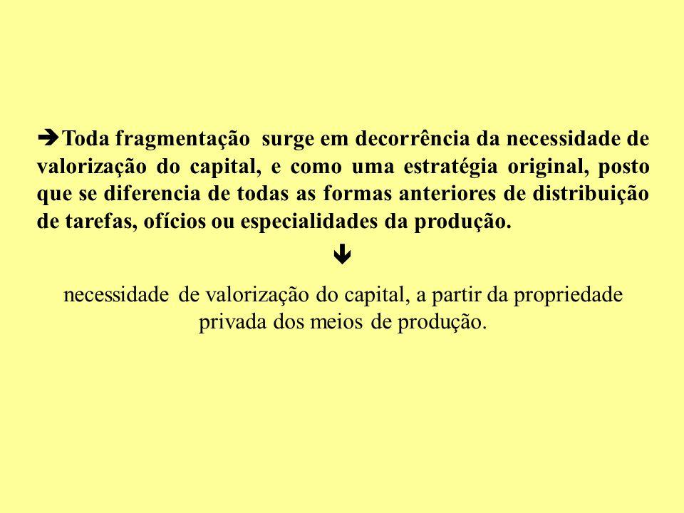 Toda fragmentação surge em decorrência da necessidade de valorização do capital, e como uma estratégia original, posto que se diferencia de todas as f