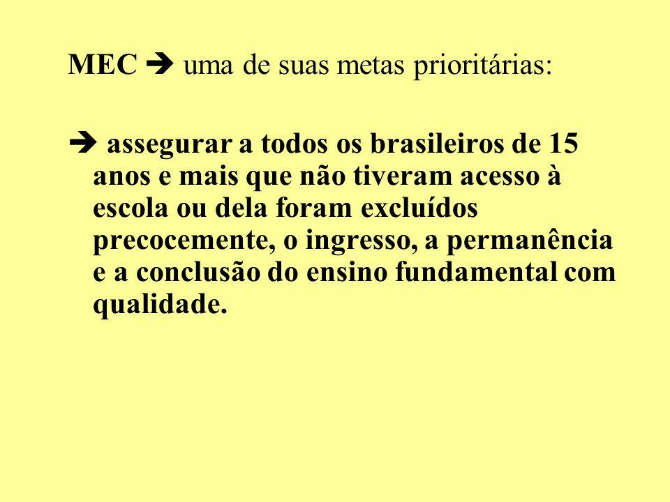 MEC uma de suas metas prioritárias: assegurar a todos os brasileiros de 15 anos e mais que não tiveram acesso à escola ou dela foram excluídos precoce