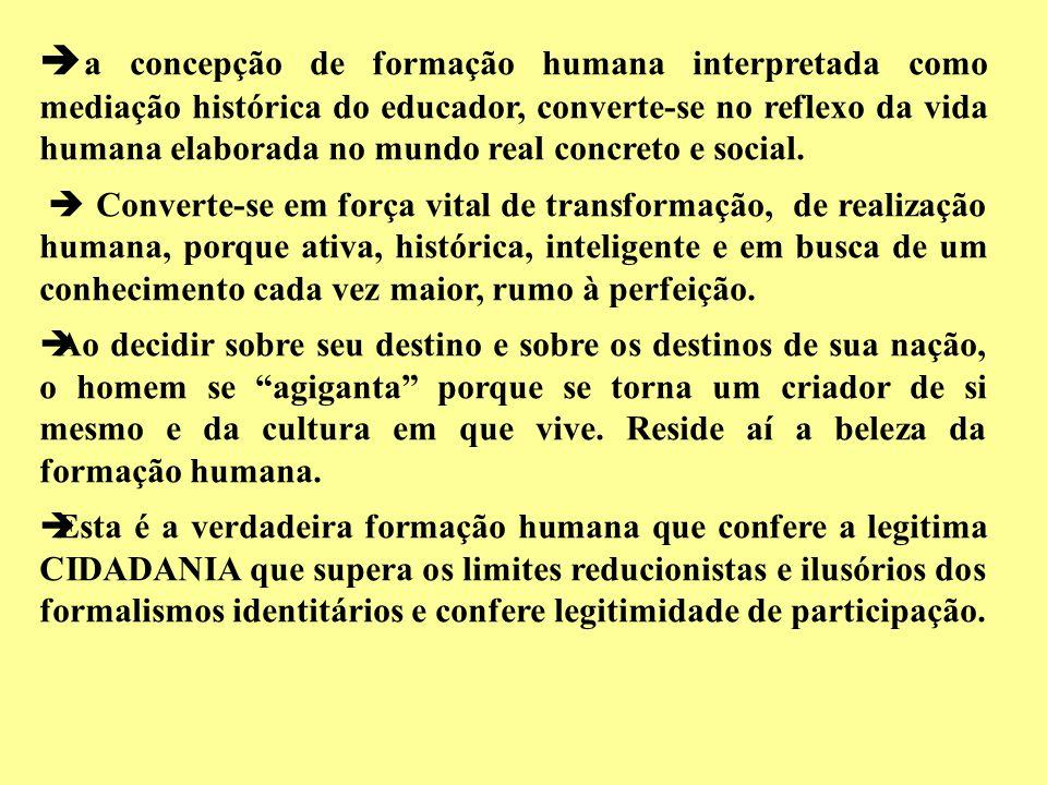 a concepção de formação humana interpretada como mediação histórica do educador, converte-se no reflexo da vida humana elaborada no mundo real concret