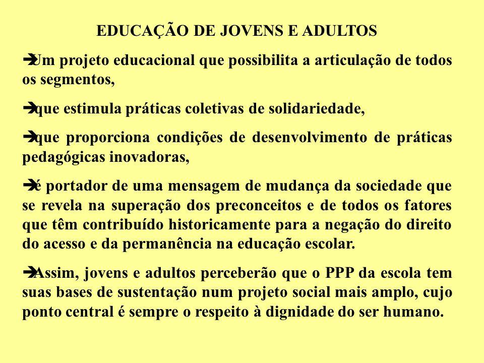 EDUCAÇÃO DE JOVENS E ADULTOS èUm projeto educacional que possibilita a articulação de todos os segmentos, è que estimula práticas coletivas de solidar
