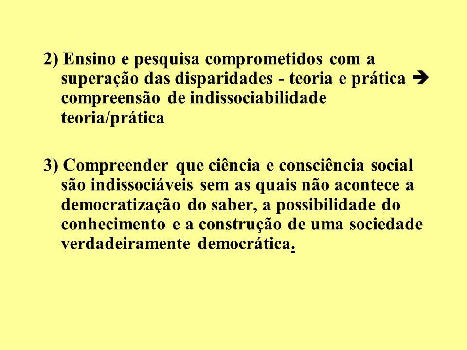 2) Ensino e pesquisa comprometidos com a superação das disparidades - teoria e prática compreensão de indissociabilidade teoria/prática 3) Compreender