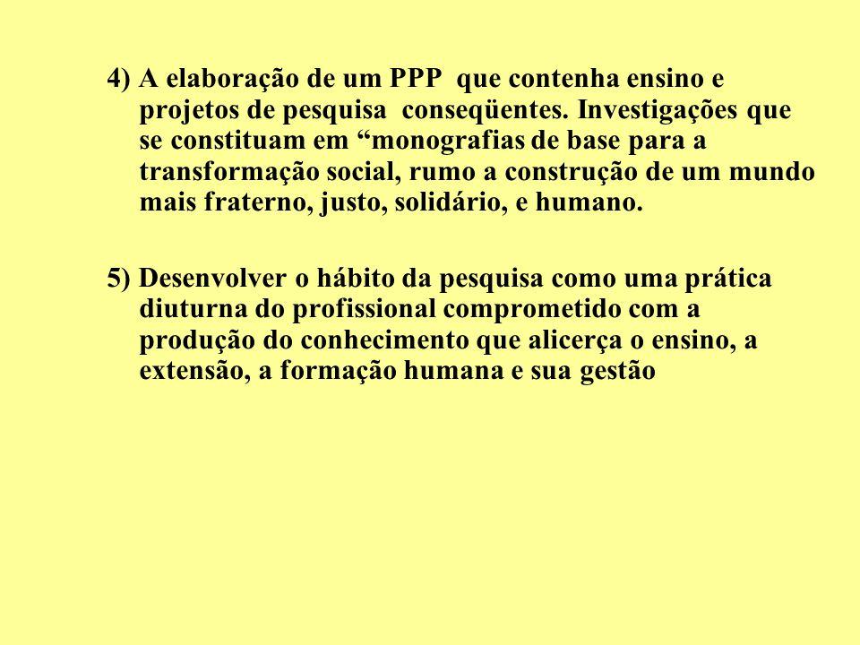 4) A elaboração de um PPP que contenha ensino e projetos de pesquisa conseqüentes. Investigações que se constituam em monografias de base para a trans