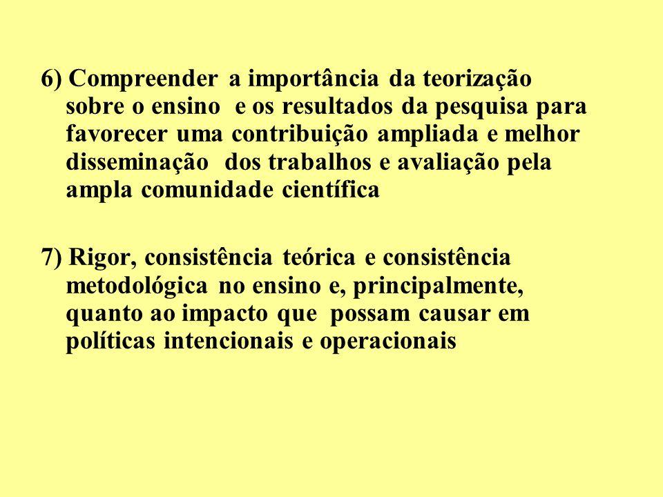 6) Compreender a importância da teorização sobre o ensino e os resultados da pesquisa para favorecer uma contribuição ampliada e melhor disseminação d