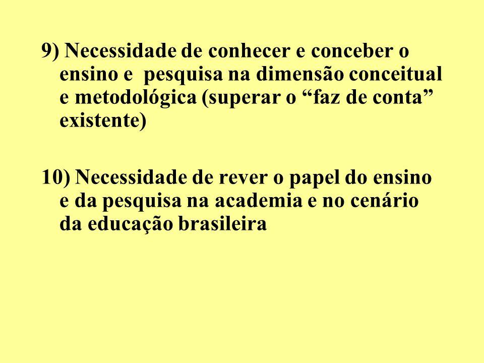 9) Necessidade de conhecer e conceber o ensino e pesquisa na dimensão conceitual e metodológica (superar o faz de conta existente) 10) Necessidade de