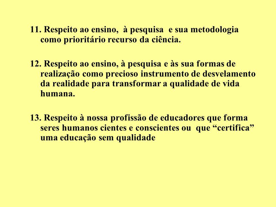 11. Respeito ao ensino, à pesquisa e sua metodologia como prioritário recurso da ciência. 12. Respeito ao ensino, à pesquisa e às sua formas de realiz