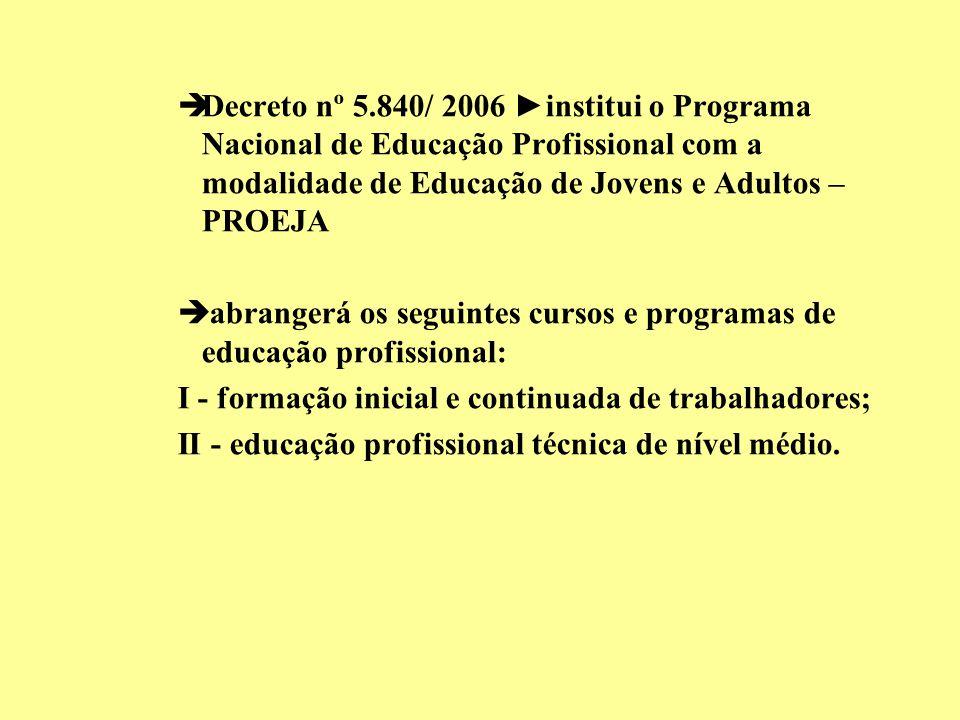èDecreto nº 5.840/ 2006 institui o Programa Nacional de Educação Profissional com a modalidade de Educação de Jovens e Adultos – PROEJA è abrangerá os