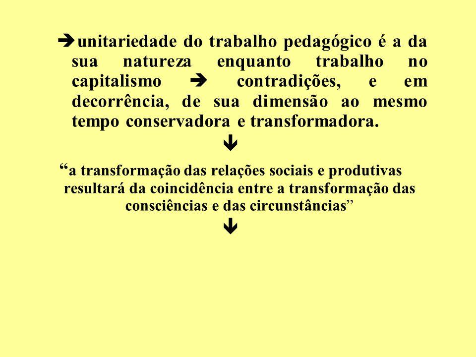 unitariedade do trabalho pedagógico é a da sua natureza enquanto trabalho no capitalismo contradições, e em decorrência, de sua dimensão ao mesmo temp