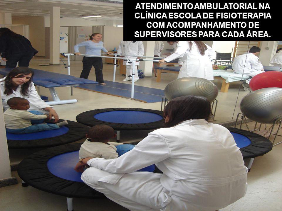 ATENDIMENTO AMBULATORIAL NA CLÍNICA ESCOLA DE FISIOTERAPIA COM ACOMPANHAMENTO DE SUPERVISORES PARA CADA ÁREA.