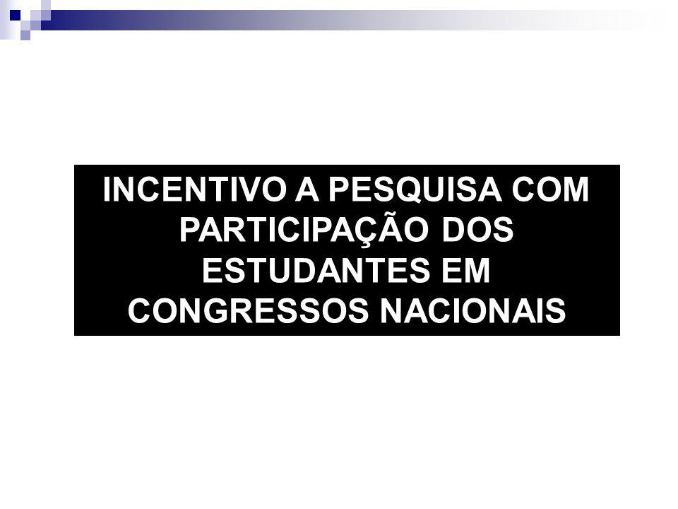 INCENTIVO A PESQUISA COM PARTICIPAÇÃO DOS ESTUDANTES EM CONGRESSOS NACIONAIS