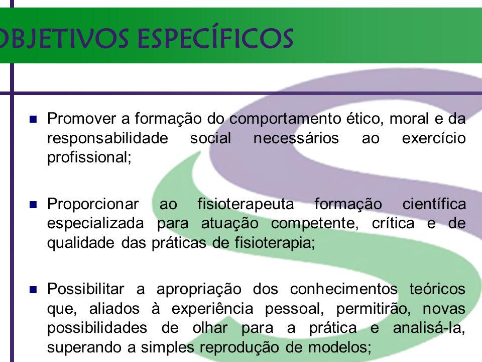 OBJETIVOS ESPECÍFICOS Promover a formação do comportamento ético, moral e da responsabilidade social necessários ao exercício profissional; Proporcion