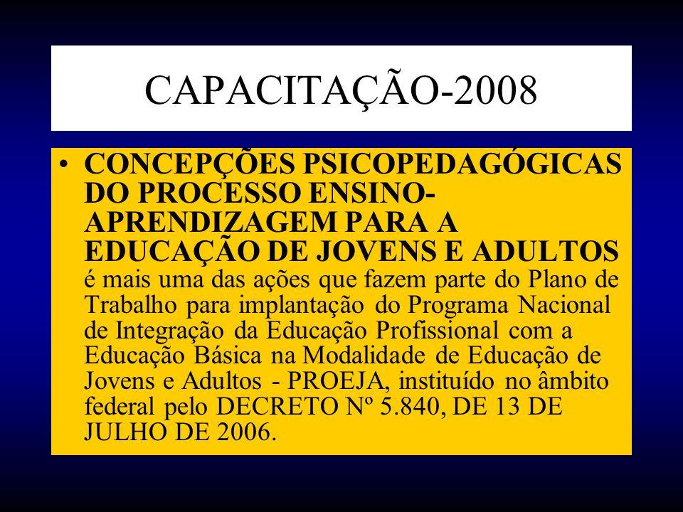 CAPACITAÇÃO-2008 CONCEPÇÕES PSICOPEDAGÓGICAS DO PROCESSO ENSINO- APRENDIZAGEM PARA A EDUCAÇÃO DE JOVENS E ADULTOS é mais uma das ações que fazem parte
