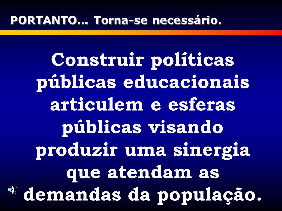 Construir políticas públicas educacionais articulem e esferas públicas visando produzir uma sinergia que atendam as demandas da população. PORTANTO...