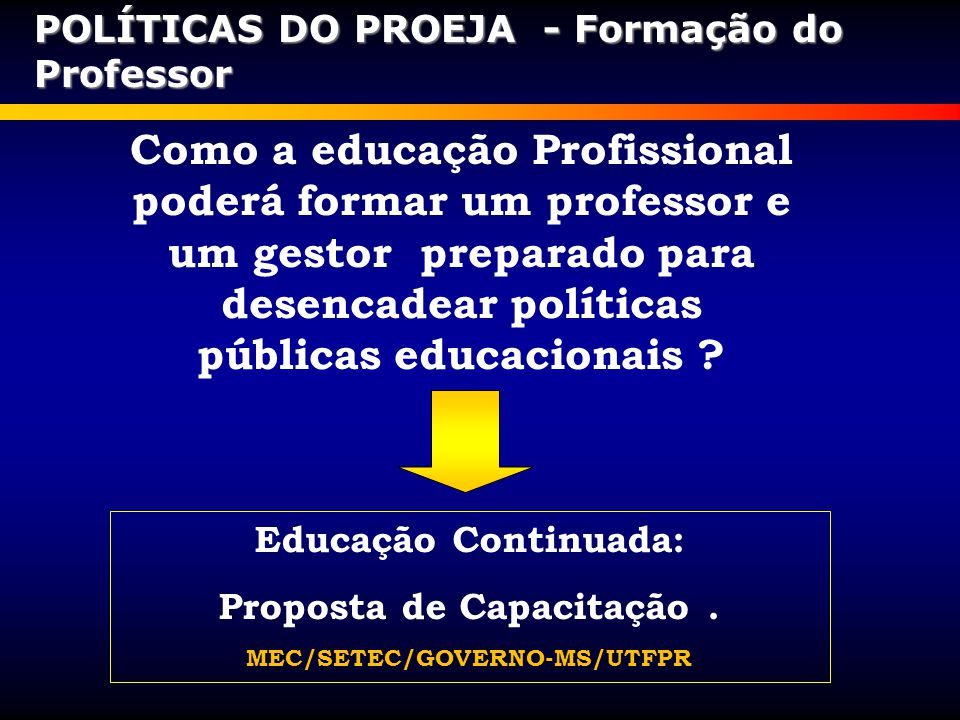 Como a educação Profissional poderá formar um professor e um gestor preparado para desencadear políticas públicas educacionais ? Educação Continuada: