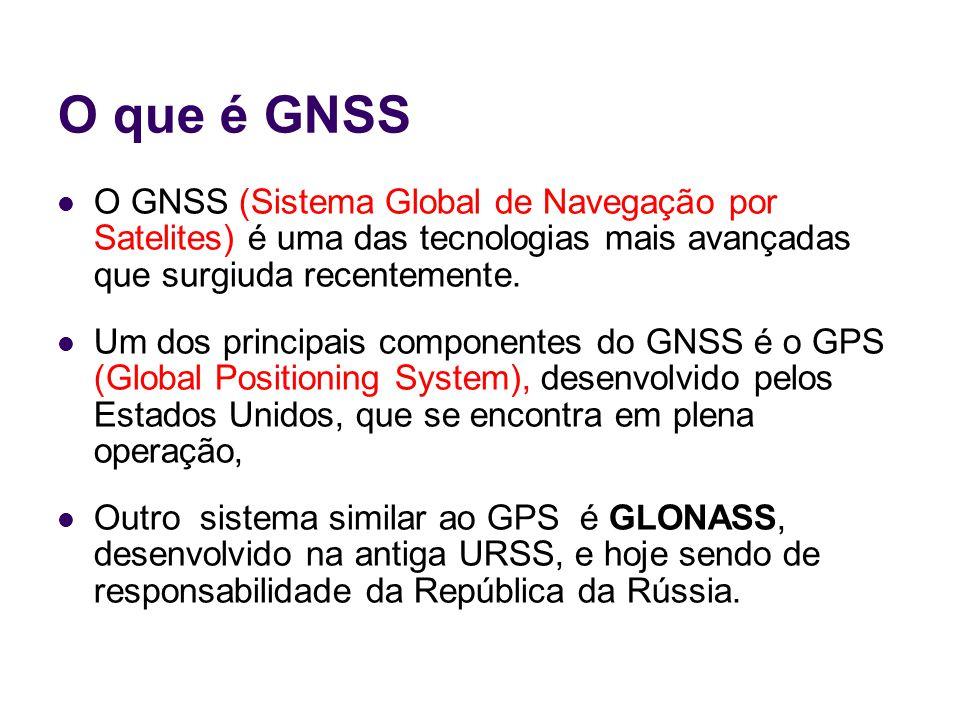 O que é GNSS Em dezembro de 2005 foi lançado o primeiro satélite (teste), do Galileo; O Galileo está sendo desenvolvido pela União Européia, devendo entrar em operação em 2010.