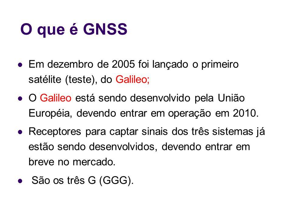 O que é GNSS Em dezembro de 2005 foi lançado o primeiro satélite (teste), do Galileo; O Galileo está sendo desenvolvido pela União Européia, devendo e