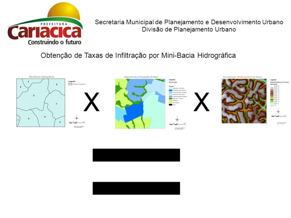 Obtenção de Taxas de Infiltração por Mini-Bacia Hidrográfica Secretaria Municipal de Planejamento e Desenvolvimento Urbano Divisão de Planejamento Urb