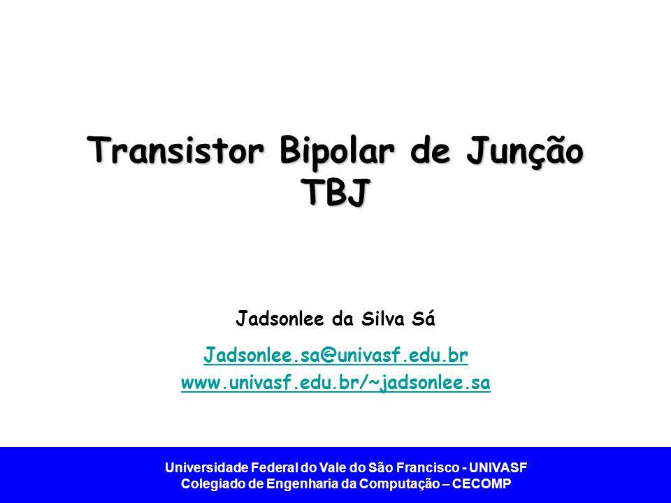 Universidade Federal do Vale do São Francisco - UNIVASF Colegiado de Engenharia da Computação – CECOMP Introdução - TBJ Transistor TBJ Formado por duas junções PN.