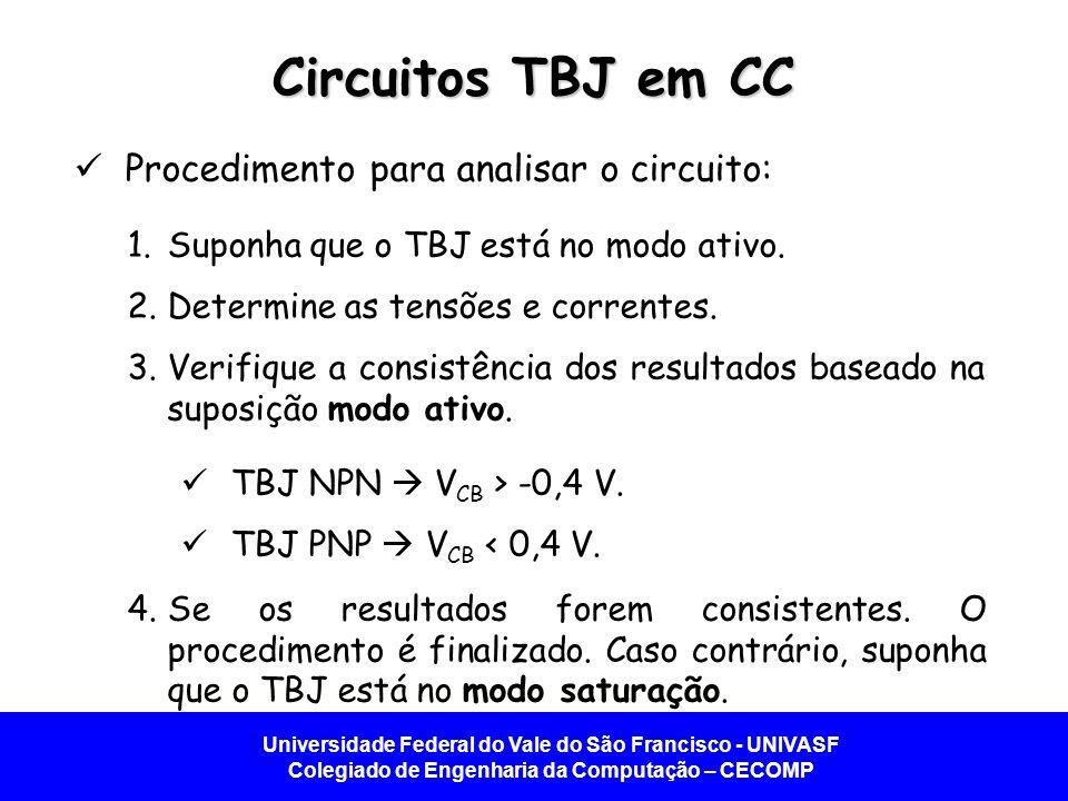 Universidade Federal do Vale do São Francisco - UNIVASF Colegiado de Engenharia da Computação – CECOMP Circuitos TBJ em CC Procedimento para analisar o circuito: 1.