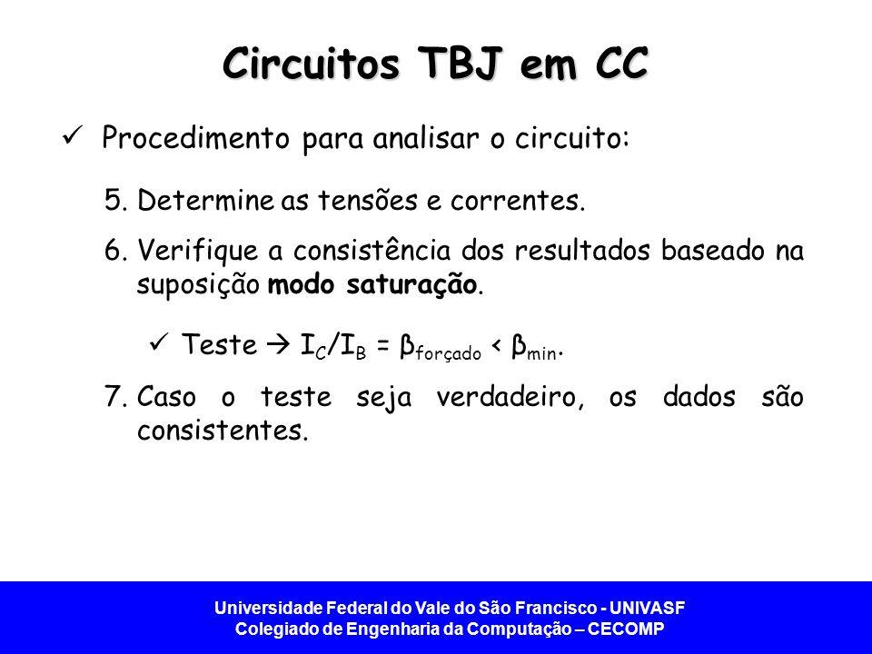 Universidade Federal do Vale do São Francisco - UNIVASF Colegiado de Engenharia da Computação – CECOMP Circuitos TBJ em CC Procedimento para analisar o circuito: 5.