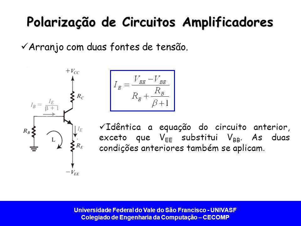 Universidade Federal do Vale do São Francisco - UNIVASF Colegiado de Engenharia da Computação – CECOMP Polarização de Circuitos Amplificadores Arranjo com duas fontes de tensão.