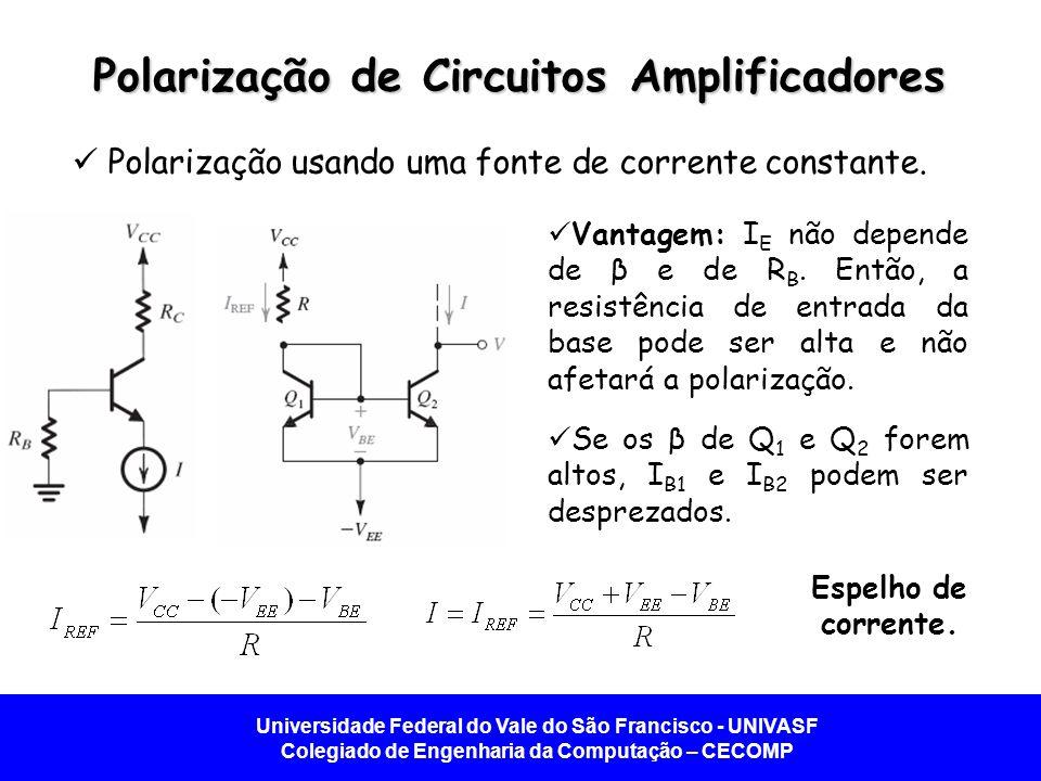 Universidade Federal do Vale do São Francisco - UNIVASF Colegiado de Engenharia da Computação – CECOMP Polarização de Circuitos Amplificadores Polarização usando uma fonte de corrente constante.
