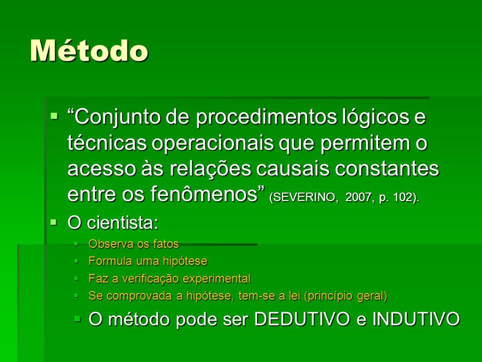 Método Conjunto de procedimentos lógicos e técnicas operacionais que permitem o acesso às relações causais constantes entre os fenômenos (SEVERINO, 20
