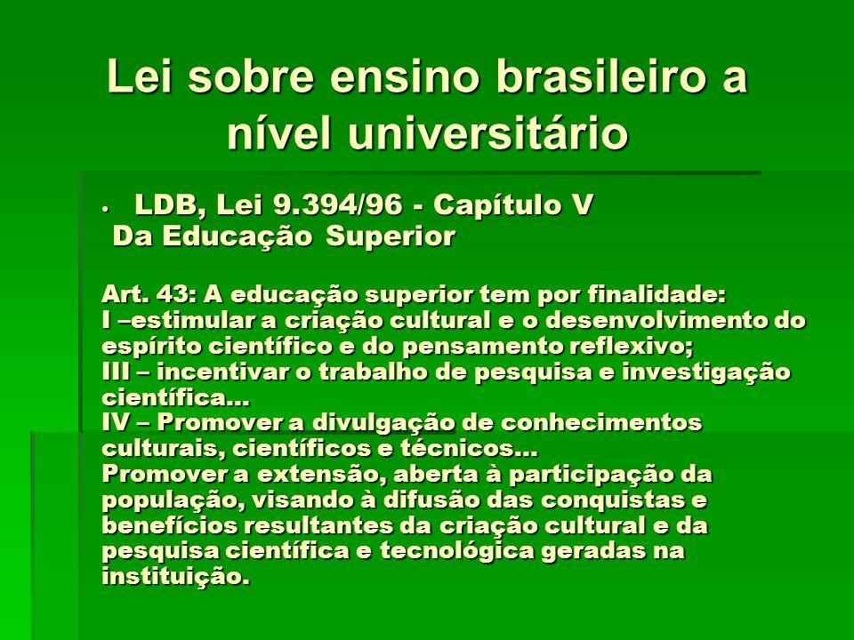 LDB, Lei 9.394/96 - Capítulo V LDB, Lei 9.394/96 - Capítulo V Da Educação Superior Da Educação Superior Art. 43: A educação superior tem por finalidad