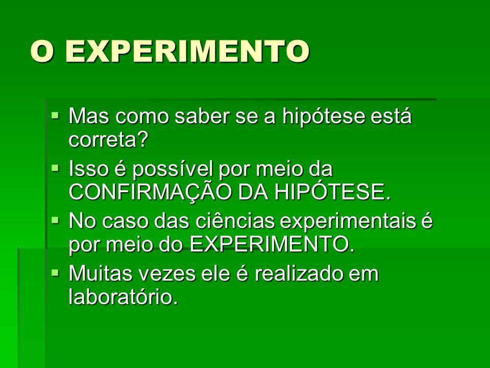 O EXPERIMENTO Mas como saber se a hipótese está correta? Mas como saber se a hipótese está correta? Isso é possível por meio da CONFIRMAÇÃO DA HIPÓTES