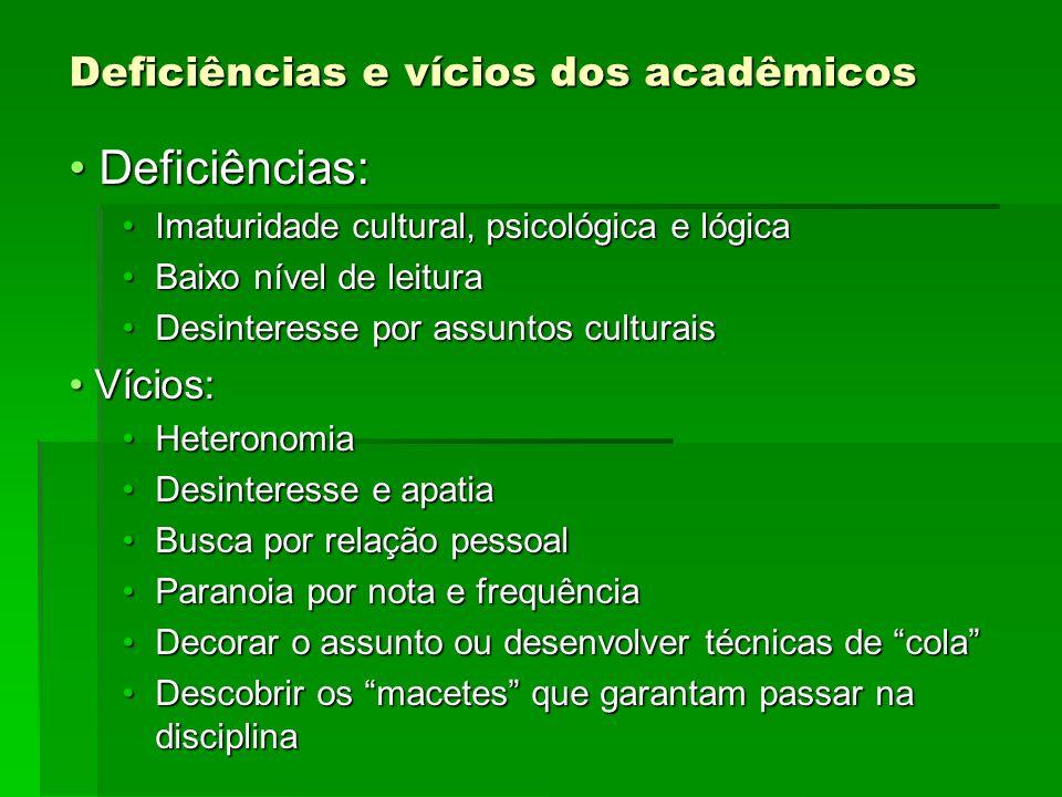 Deficiências e vícios dos acadêmicos Deficiências: Deficiências: Imaturidade cultural, psicológica e lógicaImaturidade cultural, psicológica e lógica