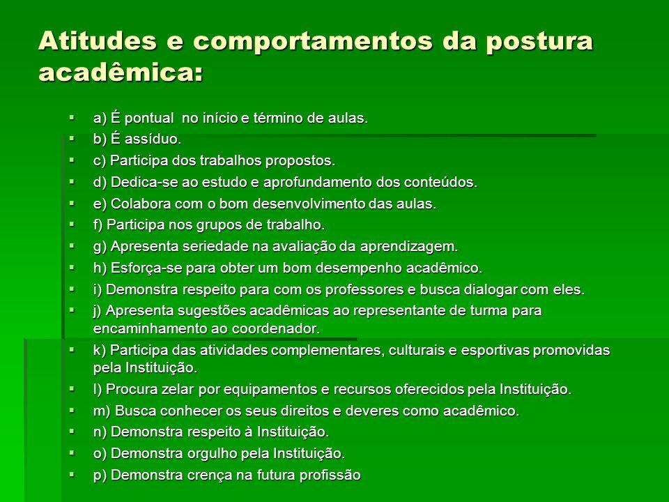 Atitudes e comportamentos da postura acadêmica: a) É pontual no início e término de aulas. a) É pontual no início e término de aulas. b) É assíduo. b)