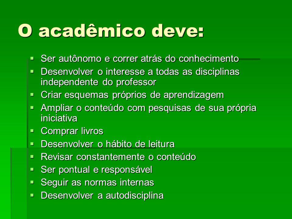 O acadêmico deve: Ser autônomo e correr atrás do conhecimento Ser autônomo e correr atrás do conhecimento Desenvolver o interesse a todas as disciplin