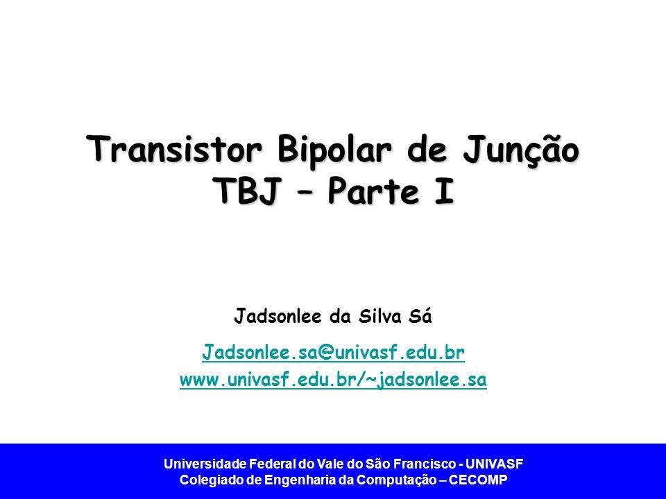 Universidade Federal do Vale do São Francisco - UNIVASF Colegiado de Engenharia da Computação – CECOMP Relações i-v para o TBJ – Modo Ativo