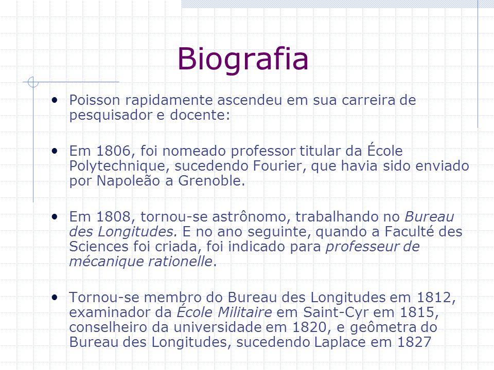 Biografia Poisson rapidamente ascendeu em sua carreira de pesquisador e docente: Em 1806, foi nomeado professor titular da École Polytechnique, sucede