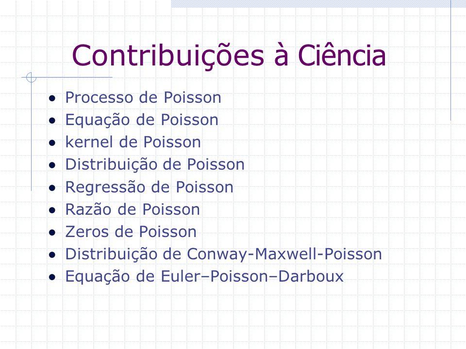 Contribuições à Ciência Processo de Poisson Equação de Poisson kernel de Poisson Distribuição de Poisson Regressão de Poisson Razão de Poisson Zeros d