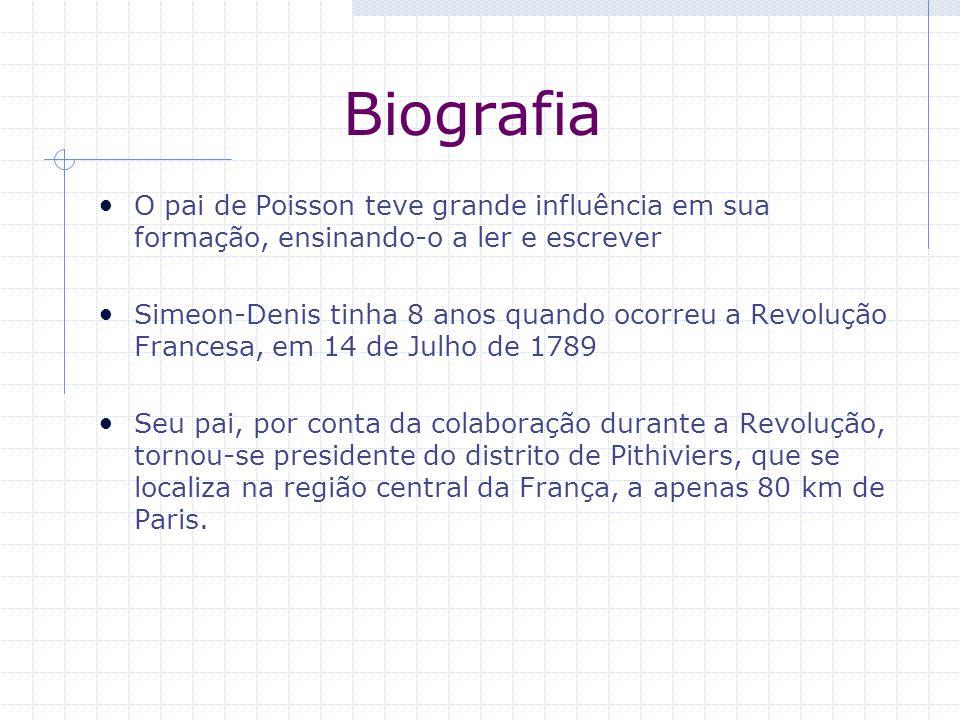 Biografia O pai de Poisson teve grande influência em sua formação, ensinando-o a ler e escrever Simeon-Denis tinha 8 anos quando ocorreu a Revolução F