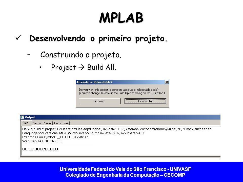 Universidade Federal do Vale do São Francisco - UNIVASF Colegiado de Engenharia da Computação – CECOMP MPLAB Desenvolvendo o primeiro projeto. –Constr
