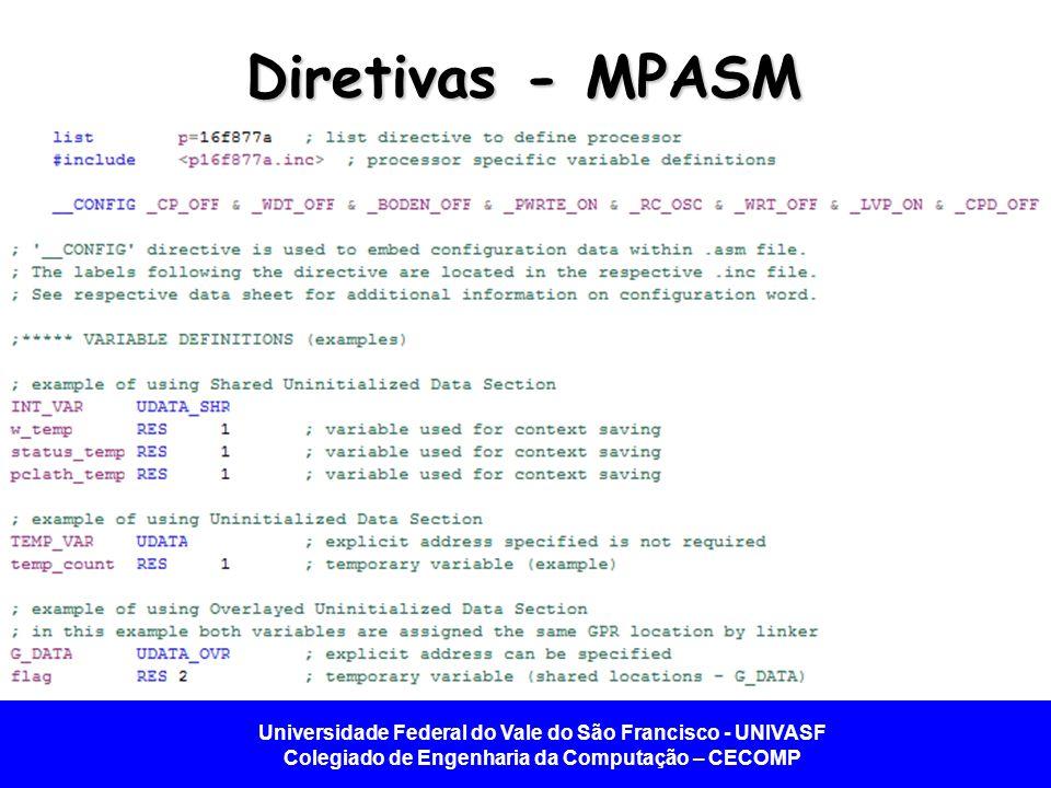 Universidade Federal do Vale do São Francisco - UNIVASF Colegiado de Engenharia da Computação – CECOMP Diretivas - MPASM