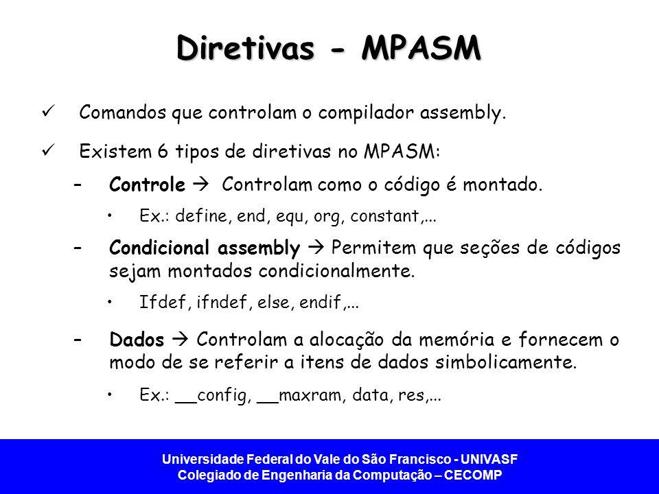 Universidade Federal do Vale do São Francisco - UNIVASF Colegiado de Engenharia da Computação – CECOMP Diretivas - MPASM Comandos que controlam o compilador assembly.