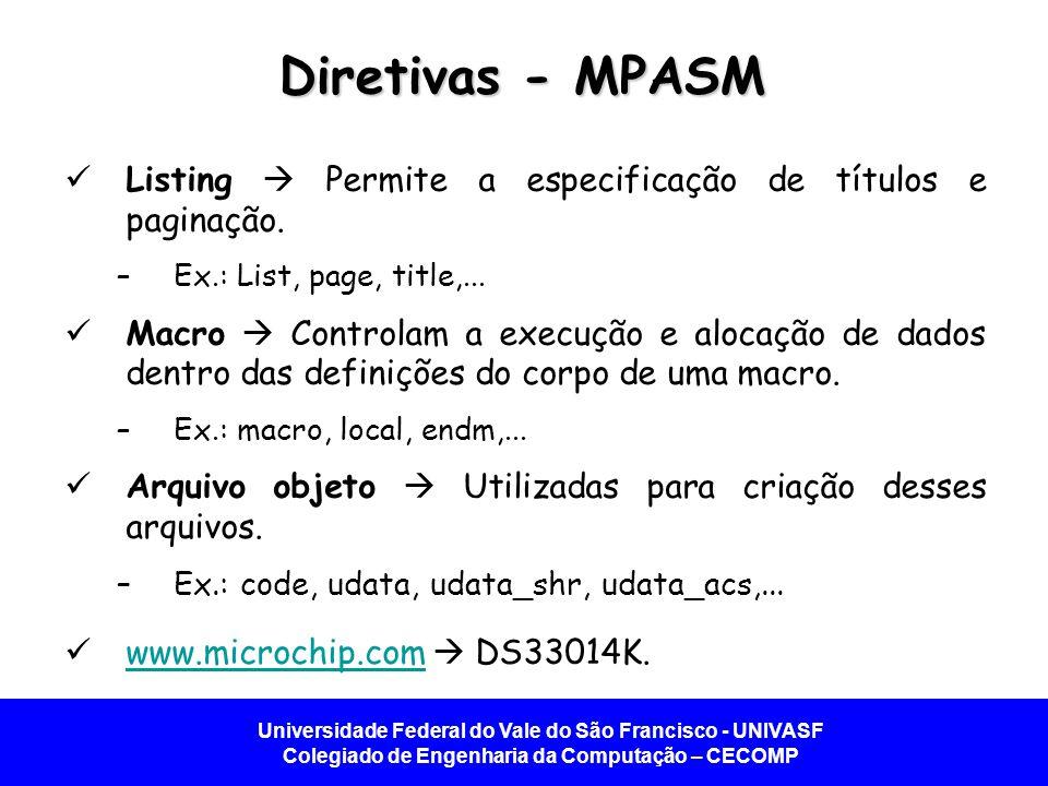 Universidade Federal do Vale do São Francisco - UNIVASF Colegiado de Engenharia da Computação – CECOMP Diretivas - MPASM Listing Permite a especificaç
