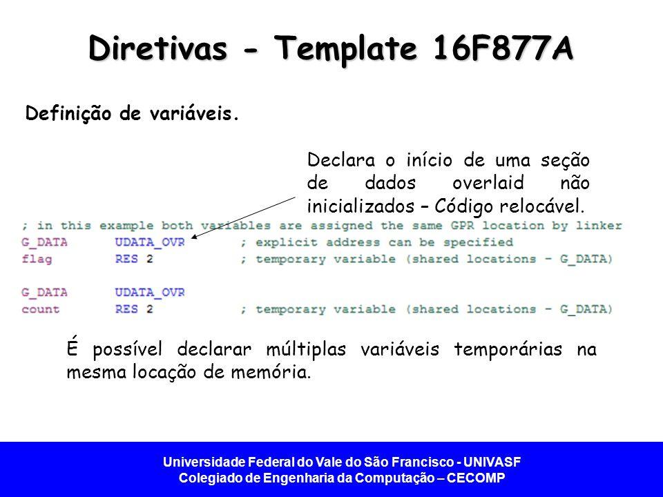 Universidade Federal do Vale do São Francisco - UNIVASF Colegiado de Engenharia da Computação – CECOMP Diretivas - Template 16F877A Definição de variáveis.