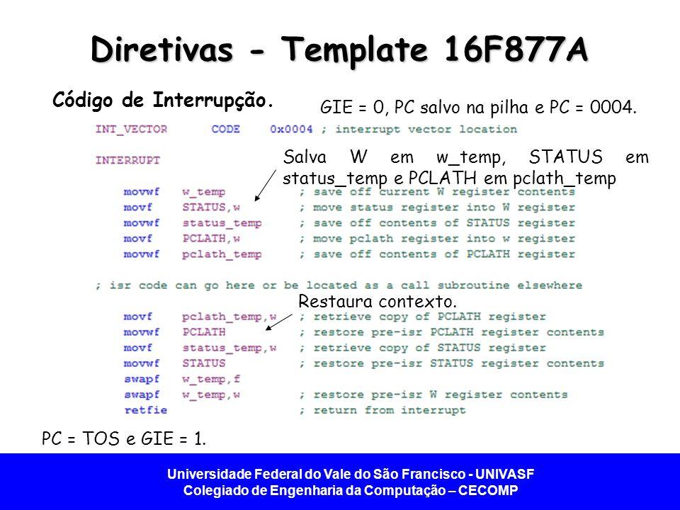 Universidade Federal do Vale do São Francisco - UNIVASF Colegiado de Engenharia da Computação – CECOMP Diretivas - Template 16F877A Código de Interrupção.