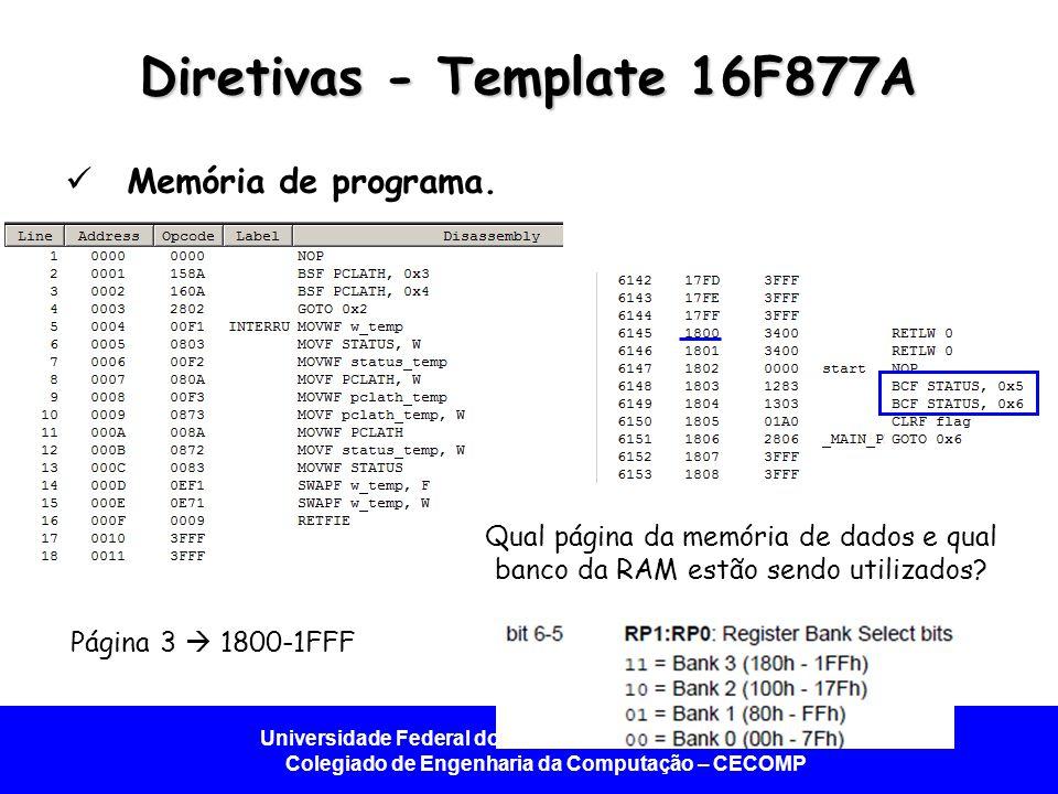 Universidade Federal do Vale do São Francisco - UNIVASF Colegiado de Engenharia da Computação – CECOMP Diretivas - Template 16F877A Memória de programa.