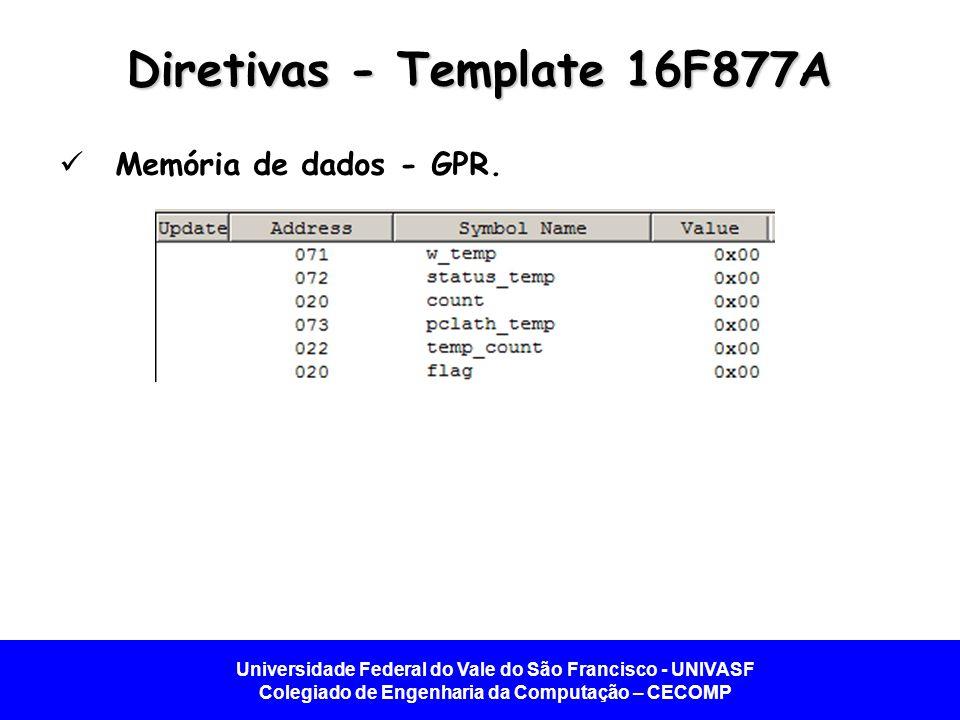 Universidade Federal do Vale do São Francisco - UNIVASF Colegiado de Engenharia da Computação – CECOMP Diretivas - Template 16F877A Memória de dados - GPR.